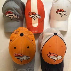 Lot of 5 Reebok Denver Broncos M/L hats & 1 adjust